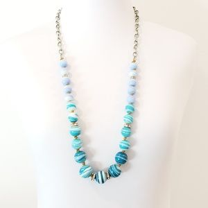 Vintage LOFT Sweater Necklace Blue and Teal